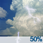 A chance of showers and thunderstorms. Partly sunny, with a high near 67. Chance of precipitation is 50%.